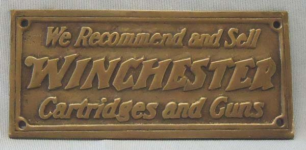 Brass Winchester Advertising  Plaque