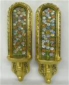 Pr Hand Painted Floral Gold Gilded Wooden Sconces