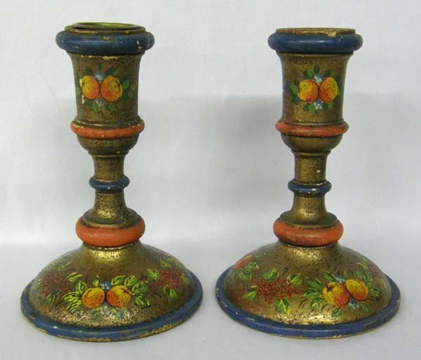 Antique Italian La Florentina Wooden Candlesticks