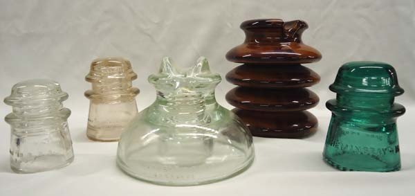 5 Vintage Glass & Ceramic Insulators