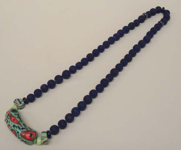 Cobalt Blue Beaded Necklace by Kills Thunder