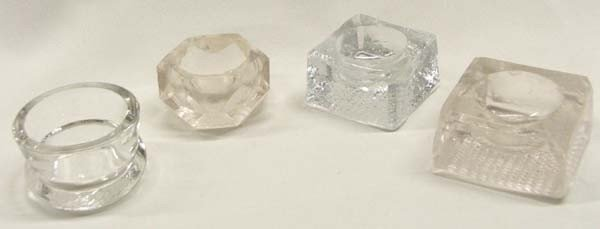 4 Antique Glass Salt Cellars