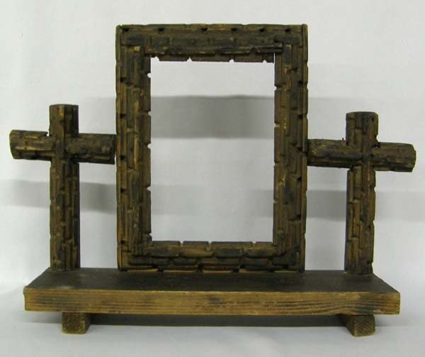 Antique Carved Wood Devotional Frame and Crosses