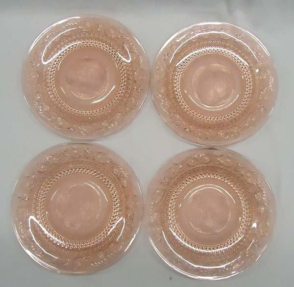 4 Vintage Pink Depression Glass Plates