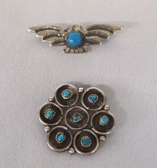 1940s Pawn Silver Turquoise Zuni & Navajo Pins