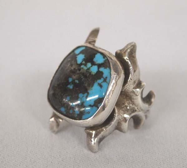 Navajo Hatchita Turquoise Silver Tufa Cast Ring