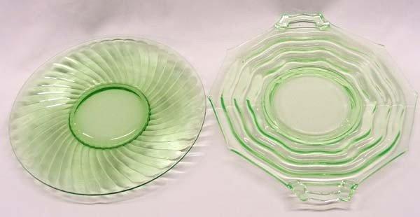 Pr Antique Vaseline Glass Serving Plates
