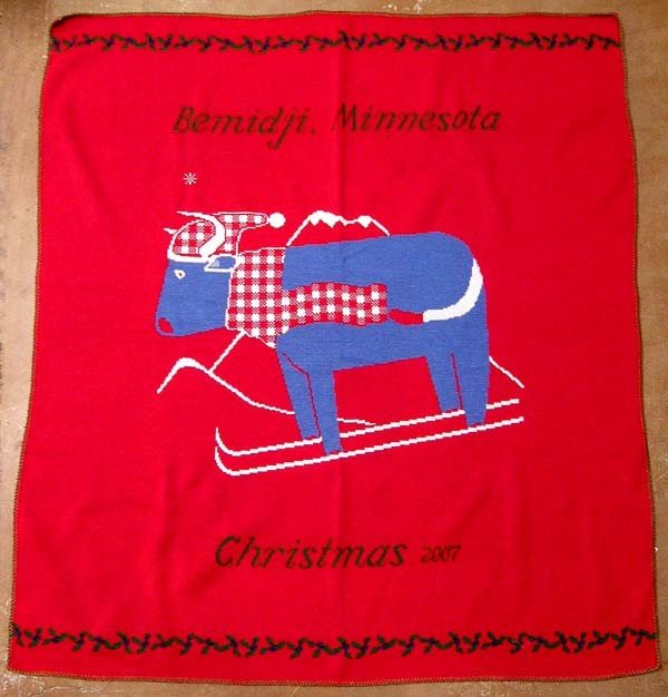 Knitted  Christmas Blanket from Bemidji MN 2007