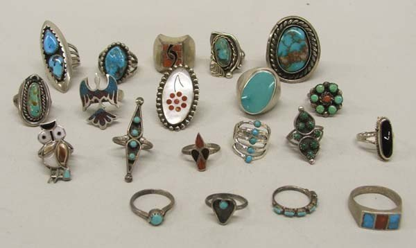 20 Zuni Navajo Silver Turquoise Coral MOP Rings