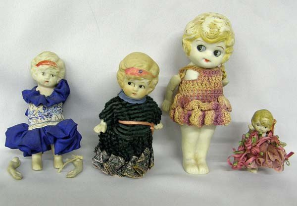 4 Antique Japanese Bisque Dolls