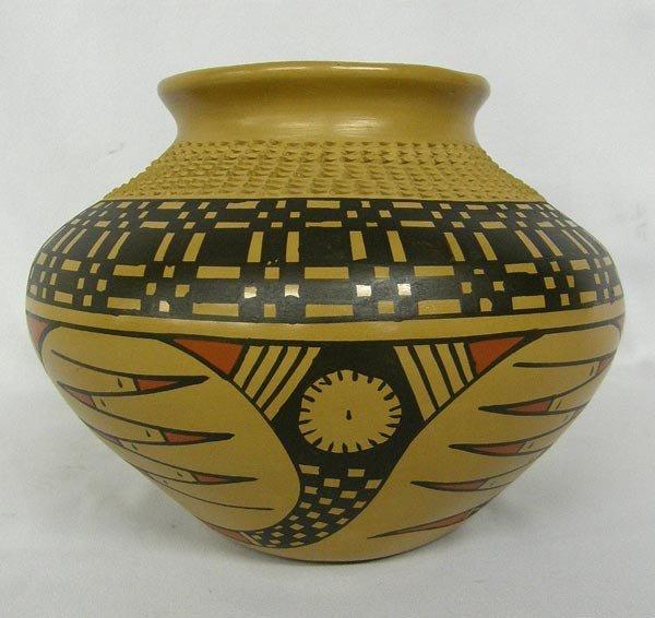 Mata Ortiz Textured Polychrome Pot by Jesus Tena