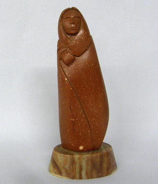 Taos Pipestone Woman Sculpture on Marble