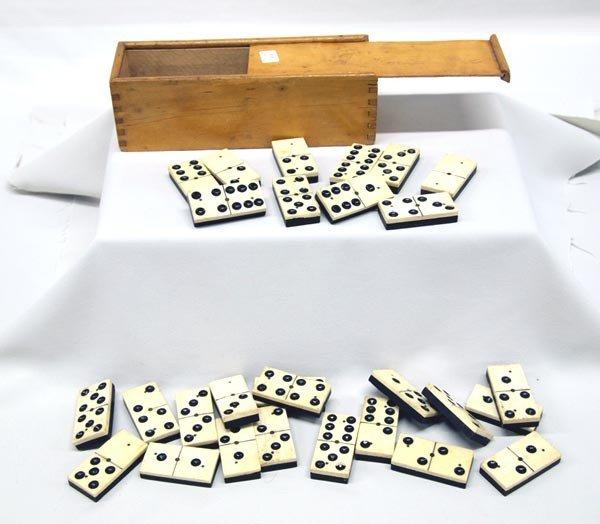 Vintage Set of Bone Dominoes - 28 in Wooden Box