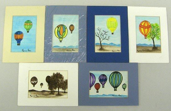 6 Original Balloon Watercolors by Norma Lee