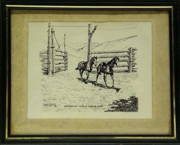 Framed Print of 1934 Pen and Ink by Will James