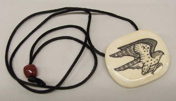 Engraved Eagle Bone Pendant Necklace