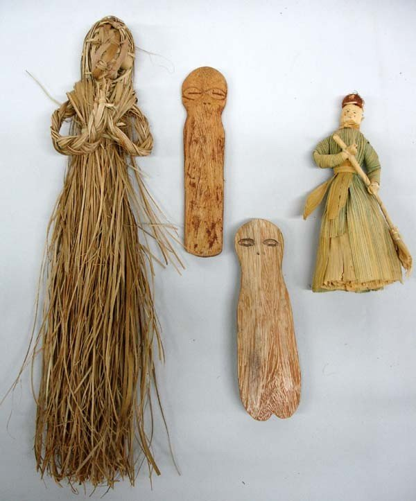 4 Primitive Dolls Native American Made