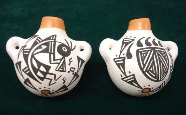Pair Miniature Acoma Pottery Canteens