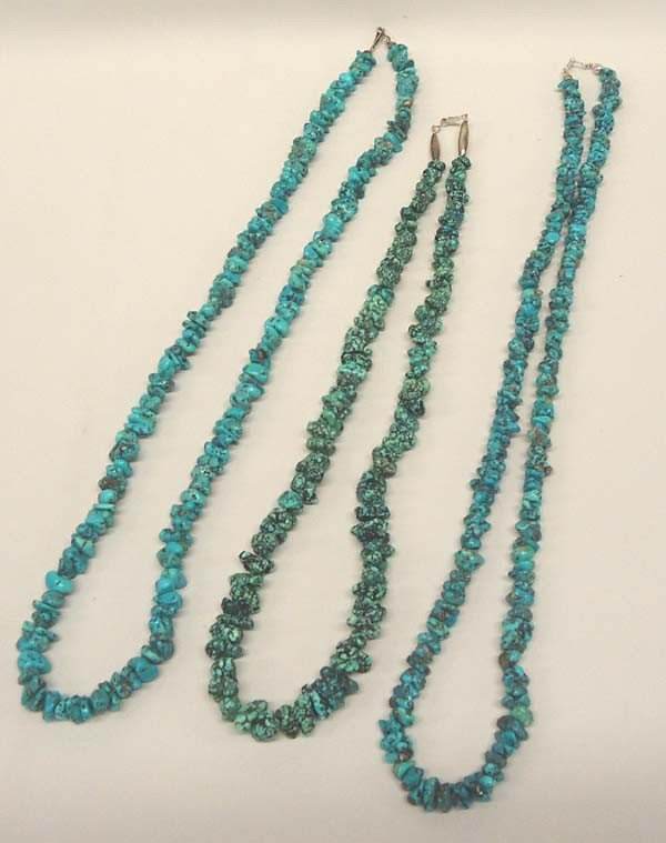 3 Navajo Turquoise Nugget Necklaces