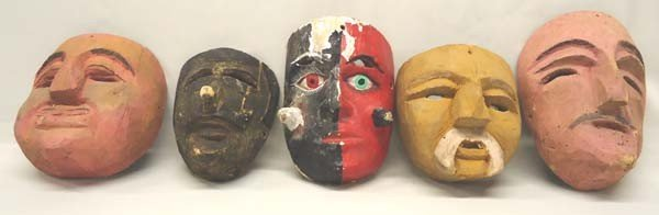 Collection 5 Vintage Mexican Wooden Masks