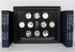 10 Silver Coin-Medals of Indian Nations + 8 Books