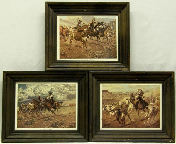 3 Framed 1973 Cowboy Prints by Joe Grandee