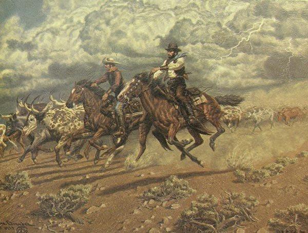3 Framed 1973 Cowboy Prints by Joe Grandee - 2