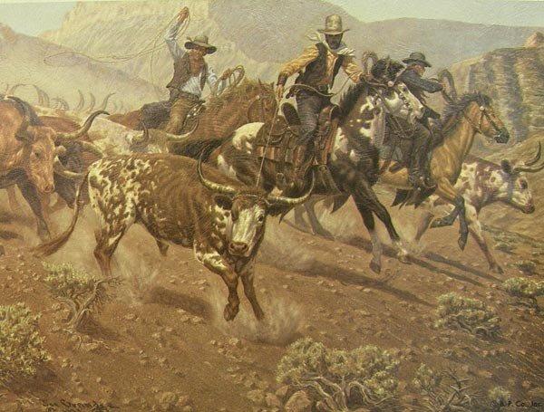 3 Framed 1973 Cowboy Prints by Joe Grandee - 3