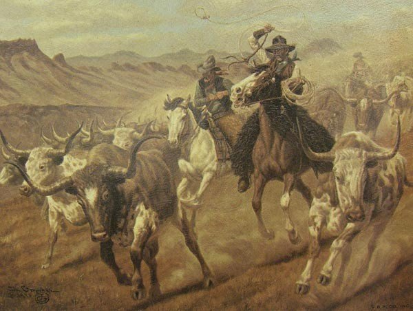 3 Framed 1973 Cowboy Prints by Joe Grandee - 4