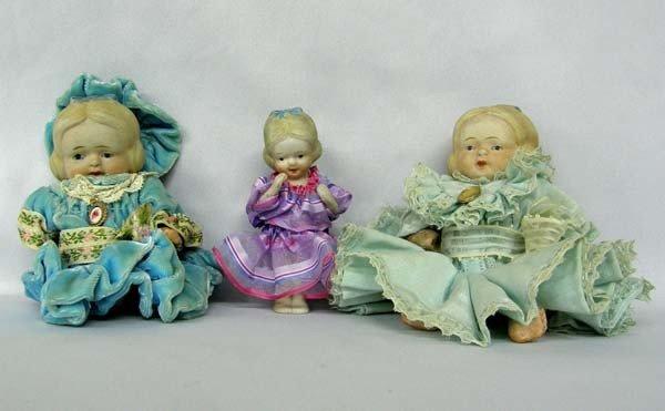 3 Antique Japanese Bisque Dolls