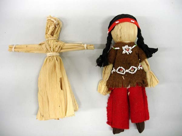 2 Native American Cornhusk Indian Dolls