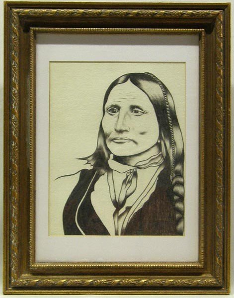 Original Charcoal Drawing by Cannon, Chief Big Bow