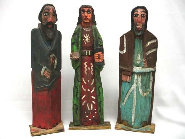 3 Guatemalan Carved Wood Santos