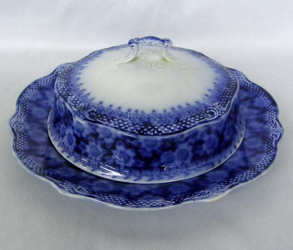 Antique USA Flow Blue Butter Plate with Cover