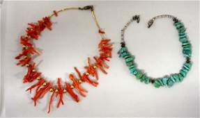 2 Navajo Childs Necklaces Branch Coral Turquoise