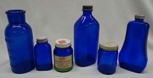 5 Vintage Cobalt Blue Glass Bottles