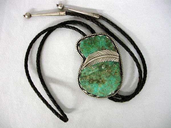 1940s Native American Navajo Silver Turquoise Bolo