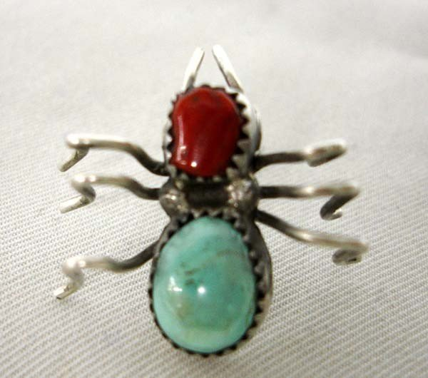 Native American Navajo Silver Turquoise Spider Pin