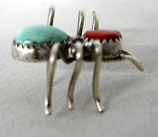 Native American Navajo Silver Turquoise Spider Pin  - 2