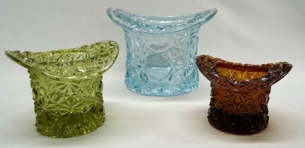 3 Fenton Glass Button & Daisy Toy Hats
