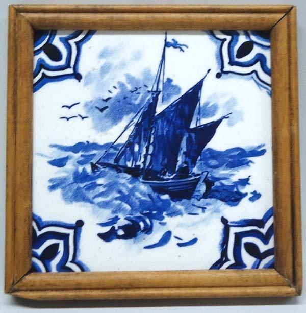 Wooden Framed Blue & White Delft Tile