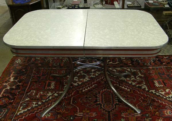 1940 u0027s formica aluminum kitchen table  rh   liveauctioneers com