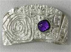 Sterling Pendant with Dichroic Purple Glass Stone