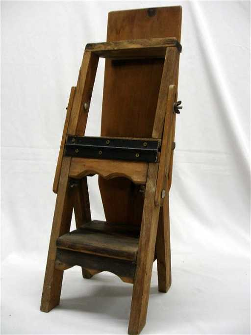 - Antique Primitive Wood Ironing Board, Chair, & Ladder