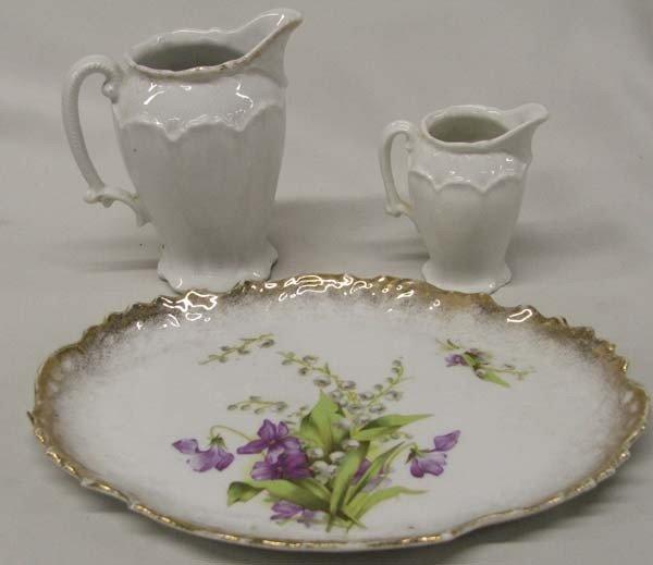 European Fine Porcelain China Pitchers & Tray