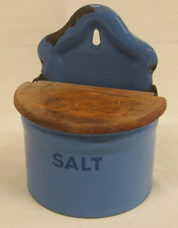 Antique Enamelware Salt Box