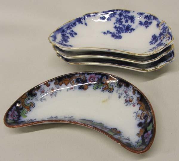 Antique Flow Blue Fishbone Plates