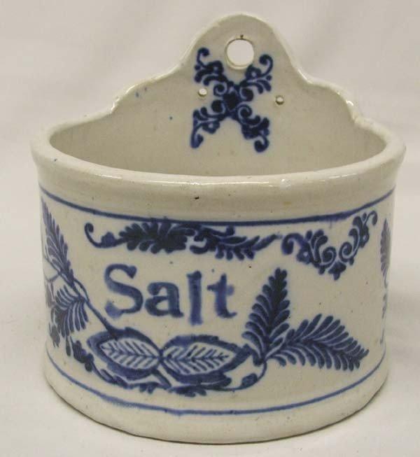 Antique Flow Blue Crock Salt Box