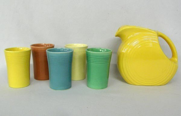 Fiesta Ware Pitcher and 5 Cups