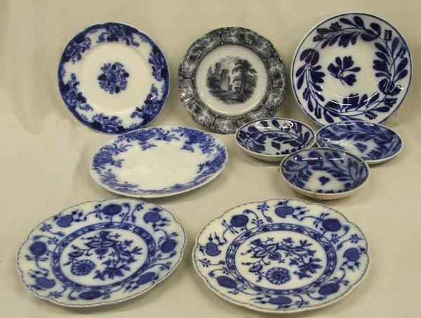 9 Antique Flow Blue Plates